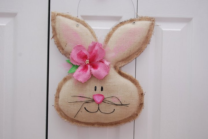 Girl Burlap Easter Spring Bunny Door Hanger/Greeter Wall Decor