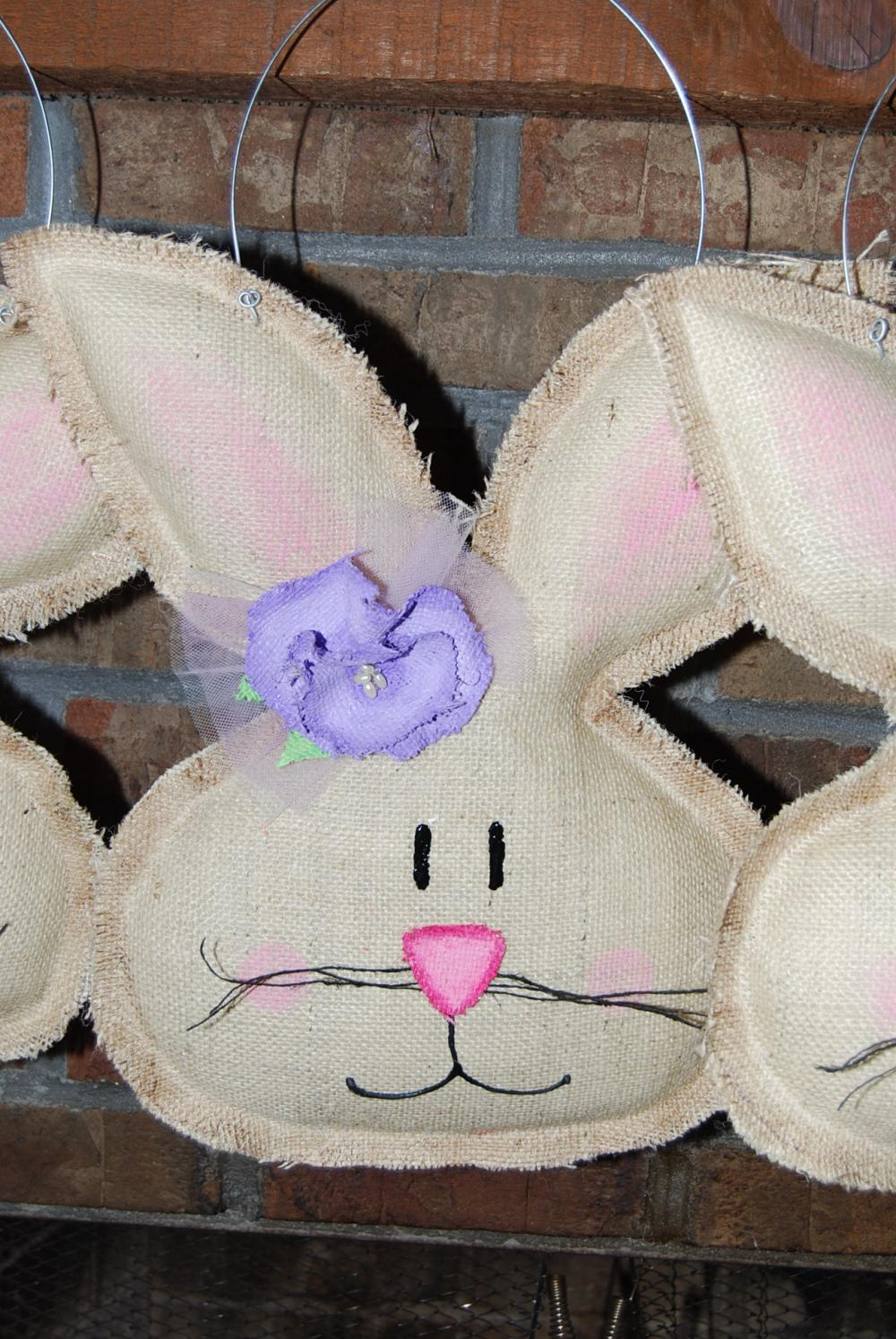 Natural Burlap Girl Easter Spring Bunny Door Hanger Wall Decor